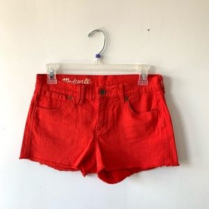 Madewell Red Womans Shorts Cut Off Style Raw Hem